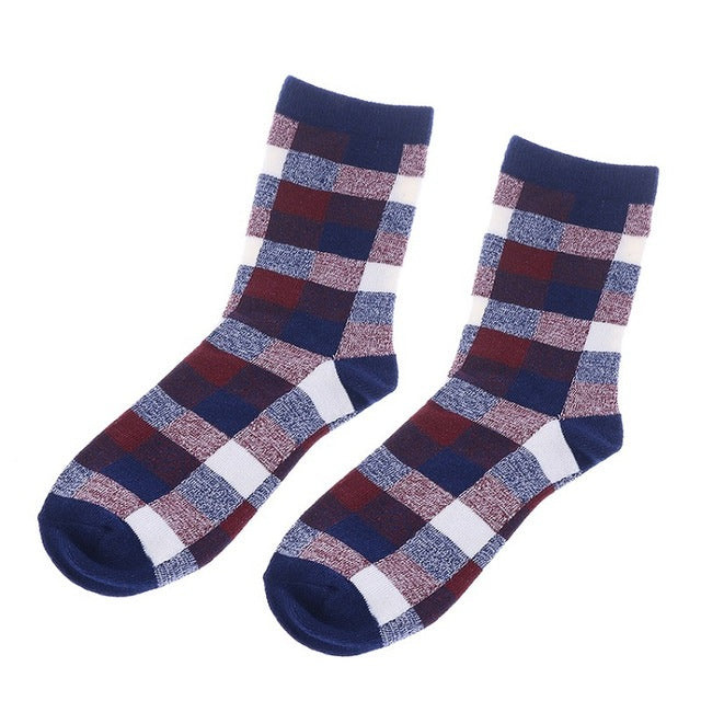1Pair New Casual Cotton Plaid Socks Design Multi-Color Fashion Men
