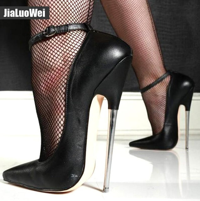 "18cm 7"" Stiletto Fetish Sharp toe Mary Janes Ankle Wrap high heel"