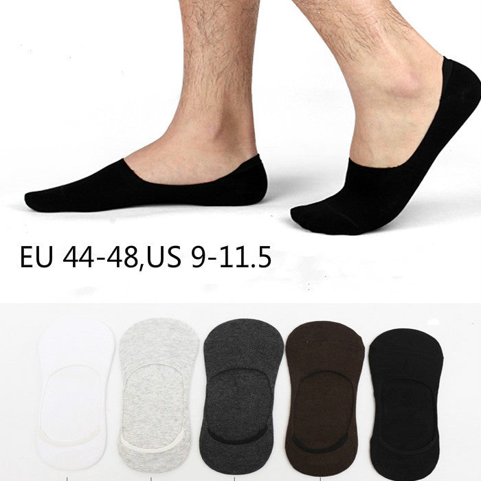 1 lot= 5 pairs Plus size Men's sock slippers cotton  Non-slip Silicone