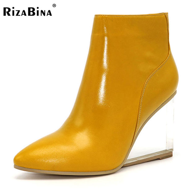 RizaBina womens shoes transparent wedges high heels ankle boots