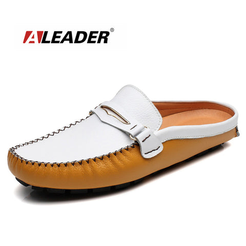 ALEADER New 2017 Summer Fashion Genuine Leather Loafers Casual Men Shoes Slip-on Walking Shoes Lazy Flat Shoes Driving Mocassins