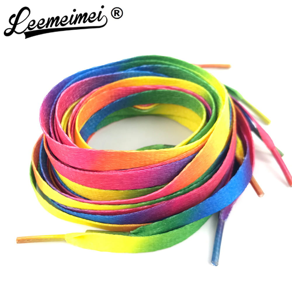 1 PAIR 80cm to 110cm Rainbow Multi-Colors Flat Sports Shoe Laces