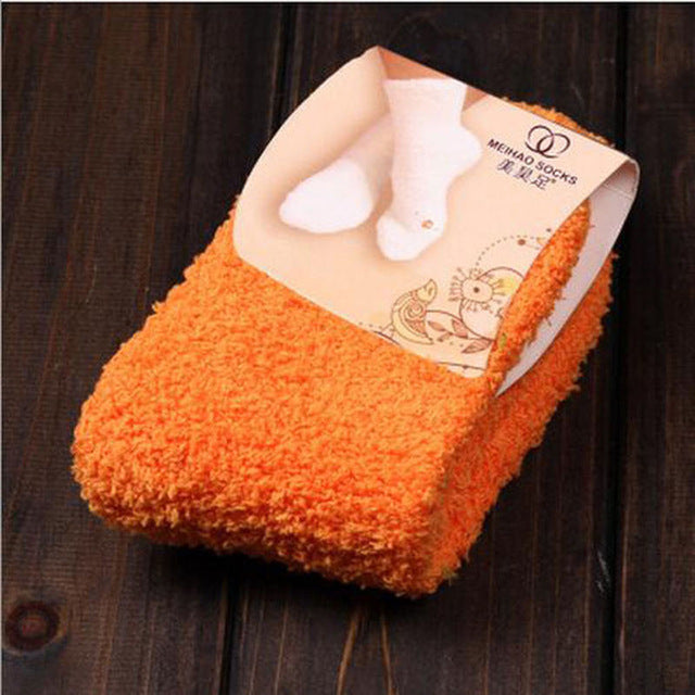 1 PC Women Girls Bed Socks Pure Color Fluffy Warm Winter Kids Gift