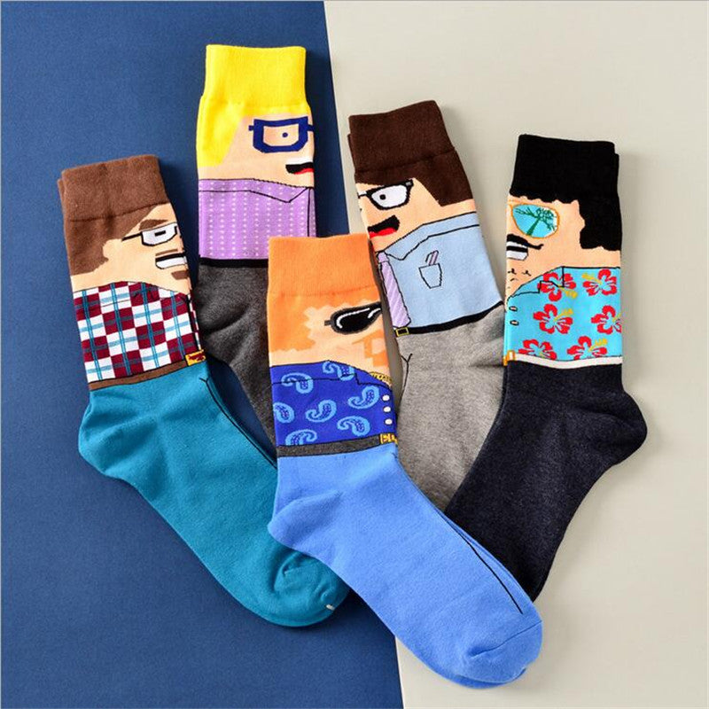 1 pair new winter fashion elegant cute cartoon mens cotton happy socks
