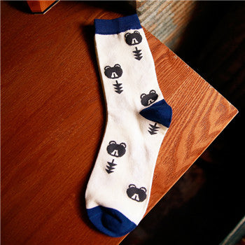 1 Pair New Men's Catoon Bear socks 100%Cotton Warm Socks Free Shipping