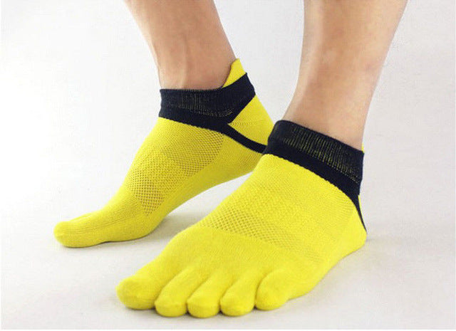 1 Pair Male Solid Color Boy's Cotton Five Finger Socks Breathable