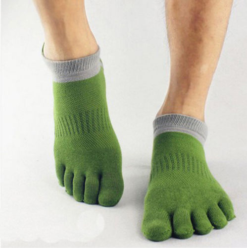 1 Pair Of Men Cosy Cotton Five Finger Socks Breathable Toe Socks