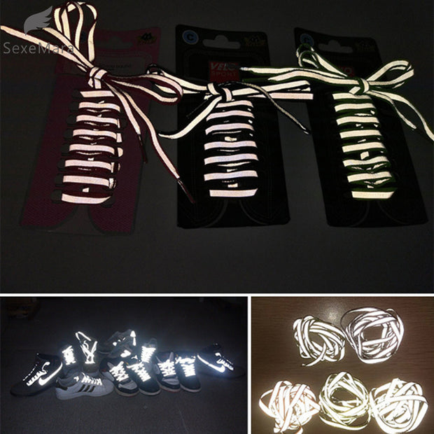1 pair 100cm Flat 3M Reflective Runner Shoe Laces Safety Luminous