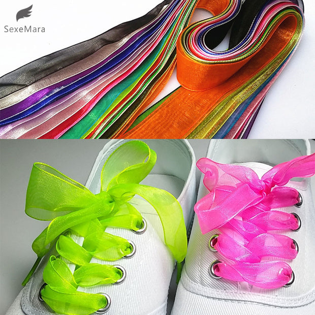 SexeMara  Fashion 2.5cm Wide Flat Shoelaces Voile Ribbon Shoe Laces