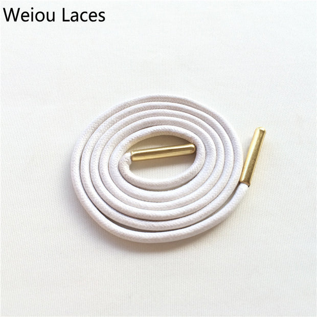 Weiou Gold Metal Aglets Dress Shoe Strings Waxed Colored Shoelaces