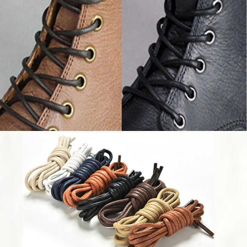 1Pair 75-85cm fashion casual leather shoelace Multi Color Cotton Waxed