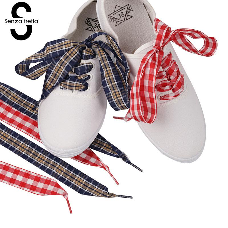 "120cm/47"" Long of Flat Fashion Checkered Ribbon Shoelaces Gingham"