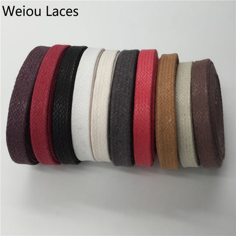 (3 Pairs/Lot)Weiou High Quality Waxed Cotton Flat Shoelaces Waxed Lacing Cord Wax Thin Shoelaces For Boots Leather Casual Shoes