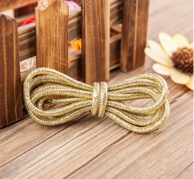 100cm/39'' Gold Silver Shoelace Flashes Round Shoes Laces All Sneakers