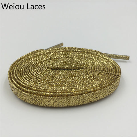Weiou Fashion Metallic Glitter Gold Shoelaces Unique Sparkle Flat Shoe Laces String For Sneaker Sport Dress Shoe Boots Running