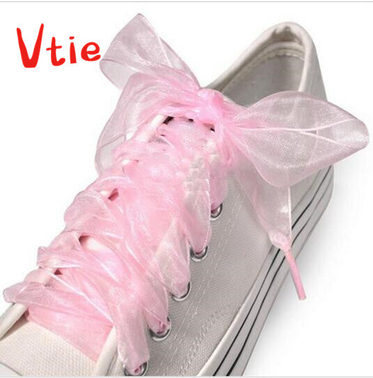 1 Piar Kids Girl Princess Chiffon Shoes Laces All Sneakers Fit Strap