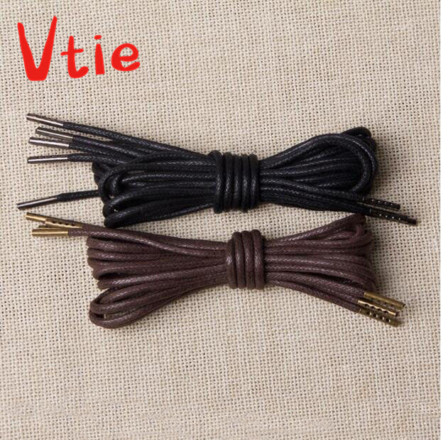 160cm/63'' Round Waxed Designer Dress Shoe Laces with Metal Tips