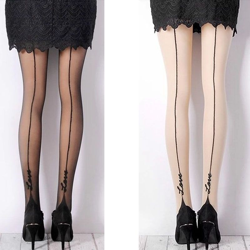 1 Pair Female Sexy Stockings English Love Letter Tattoo Jacquard