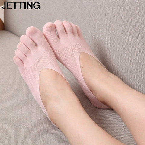 Solid Color Lace Antiskid Low Cut Five Finger Toe Socks Women Female Invisible Socks Sock Slippers Shallow Mouth Summer Sock