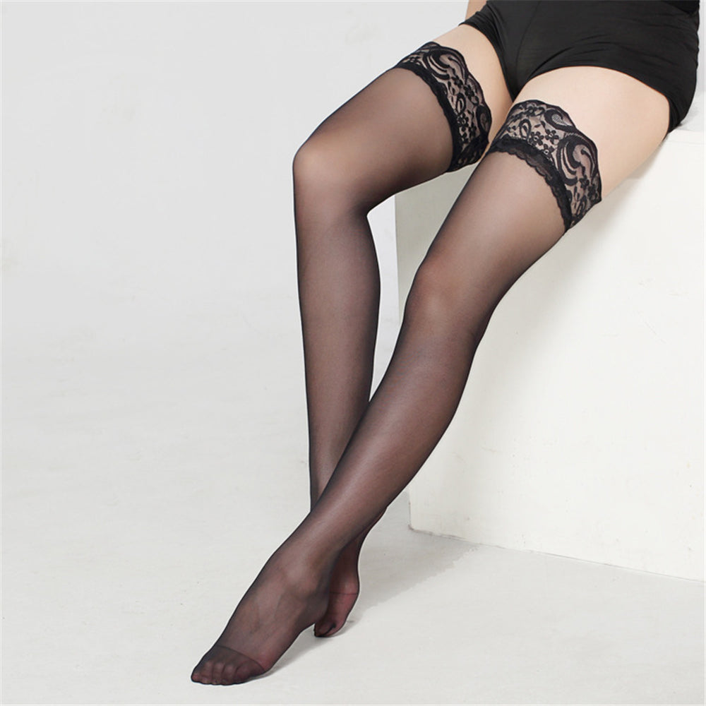 Women Ladies Sexy Lace Top Sheer Stay Up Thigh High Stockings