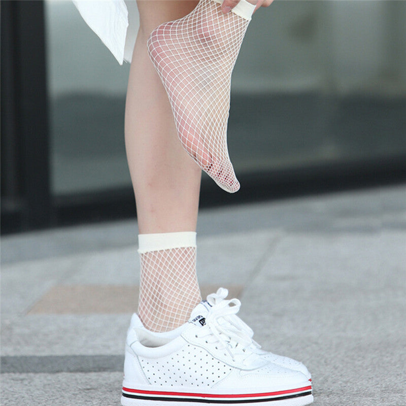 1 Pair Fashion Women Girls Fishnet Ankle High Socks Lady Mesh Lace