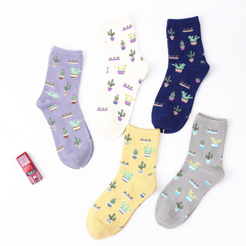 New Plant Cactus Pattern Cotton Socks Comfortable Soft Lovely Cute Cotton Casual Women Men Short Socks Warm Calcetines Sox 2017