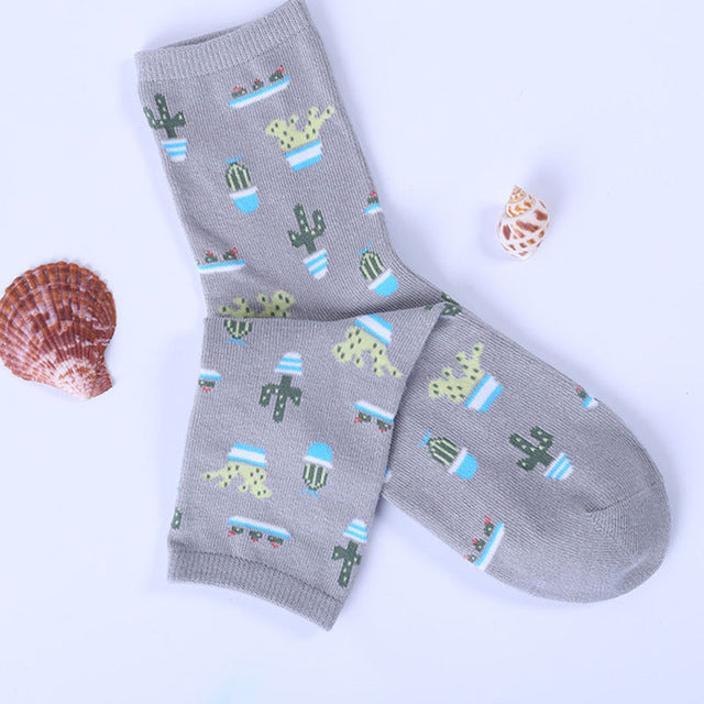New Plant Cactus Pattern Cotton Socks Comfortable Soft Lovely Cute