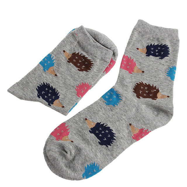 1 Pair Women Winter Warm Soft Cotton Blend 5colors Hedgehog Animal