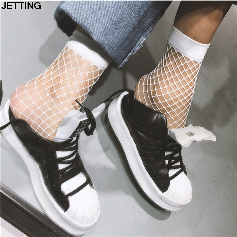 1 Pair Women Girls Fishnet Ankle High Socks Lady Mesh Lace Fish Net