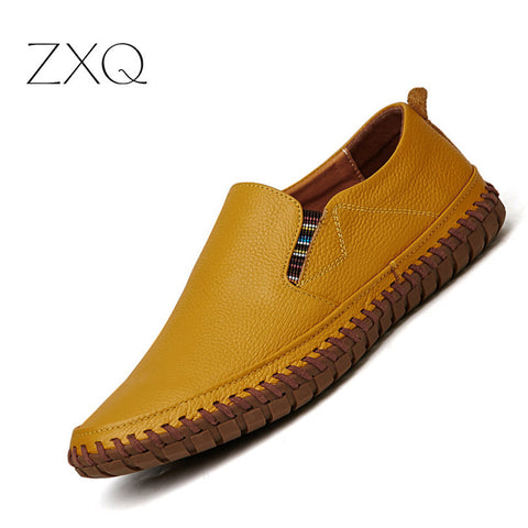 Pl;us Size 38-47 Handmade Genuine Leather Mens Shoes Casual Men Loafers Fashion Breathable Driving Shoes Slip On Moccasins