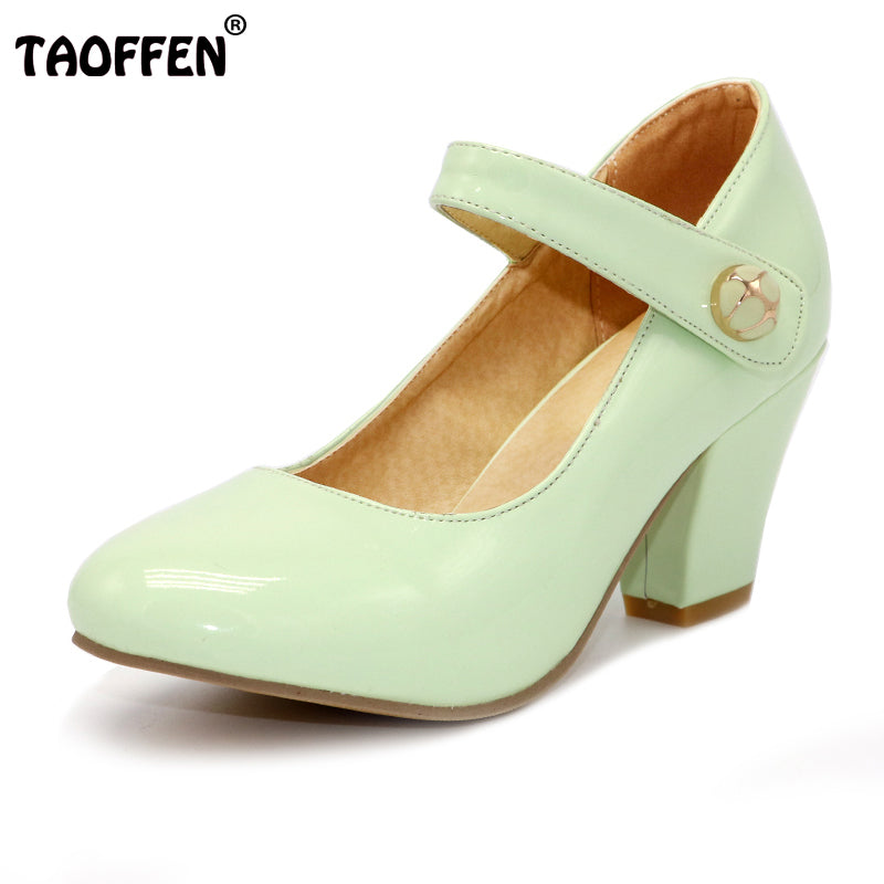 TAOFFEN 8 Colors Size 32-48 Lady  High Heels Pumps Round Toe Patent