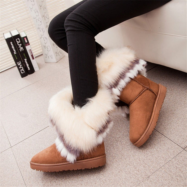 2017 Women Snow Ankle Boots Female Wedges Fox Fur Winter Boots Warm