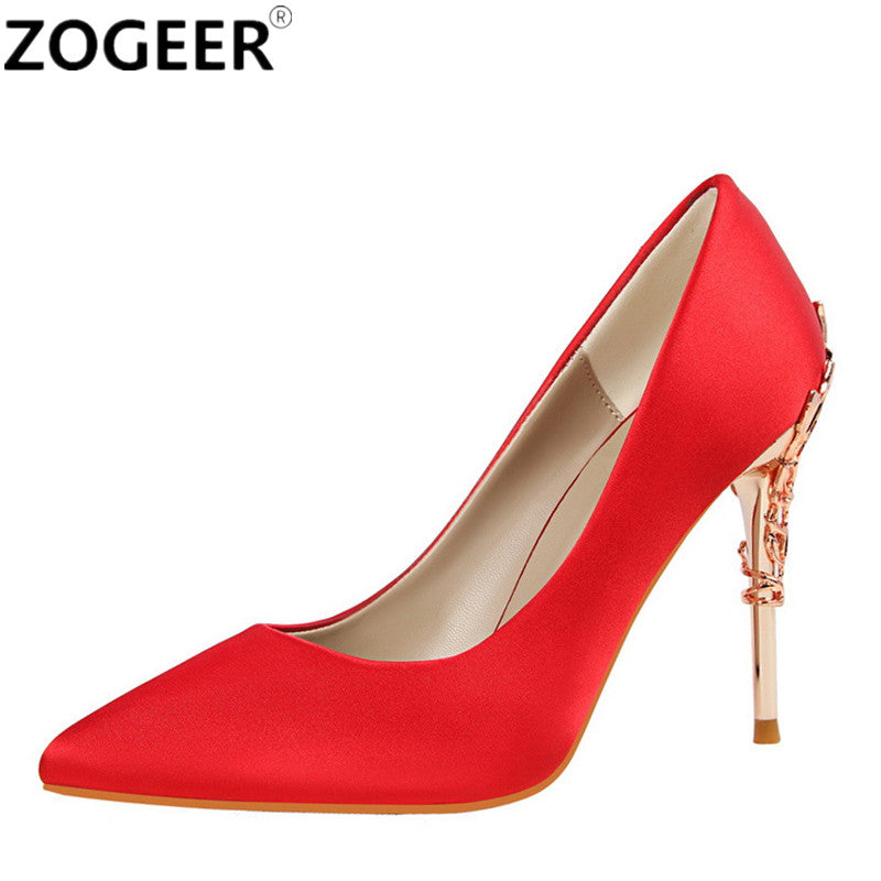 New 2017 Spring Summer Women Pumps High Heels Sexy Metal Heeded