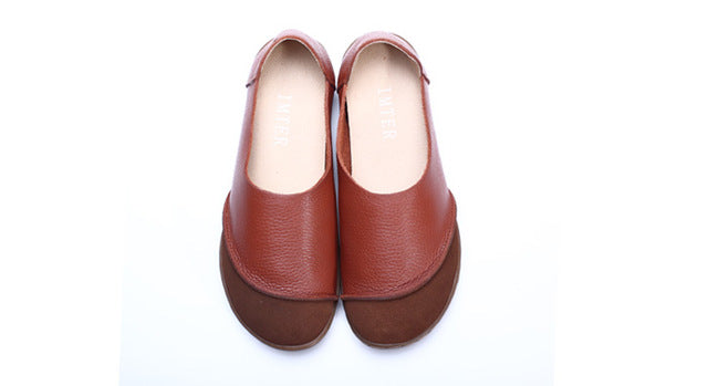 3916875b1292 35-42)Women Shoes Hand-made Genuine Leather Ladies Flat Shoes Round ...