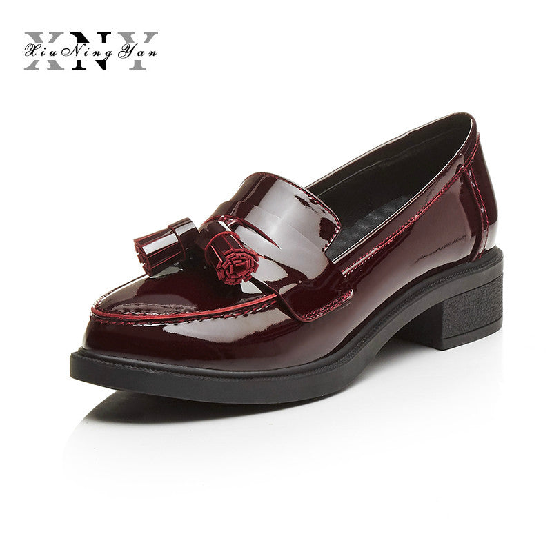 0f58a8d6ce6 Genuine Leather Shoe Woman British Style Designer Vintage Penny Loafer