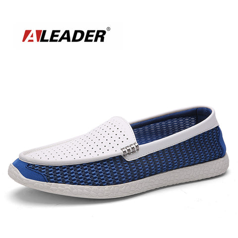 Breathable Leather&Mesh Mens Loafers 2016 New Casual Spring Fashion Flat Shoes for Men HandMade Driving Shoes Men Comfort Flats