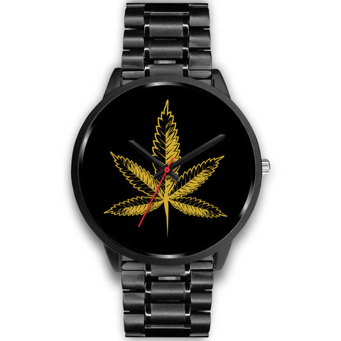 Gold Leaf | Black Stainless Steel Watch