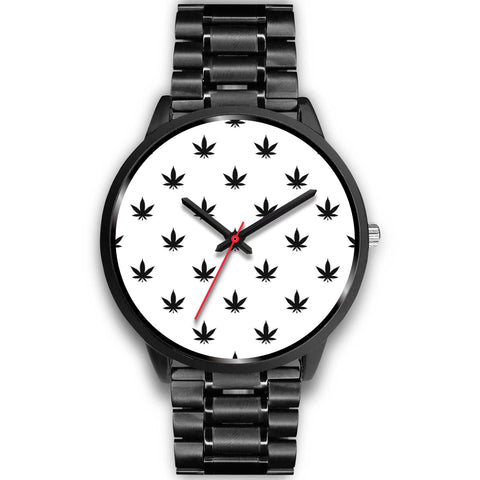 Black Leaves | Black Stainless Steel Watch