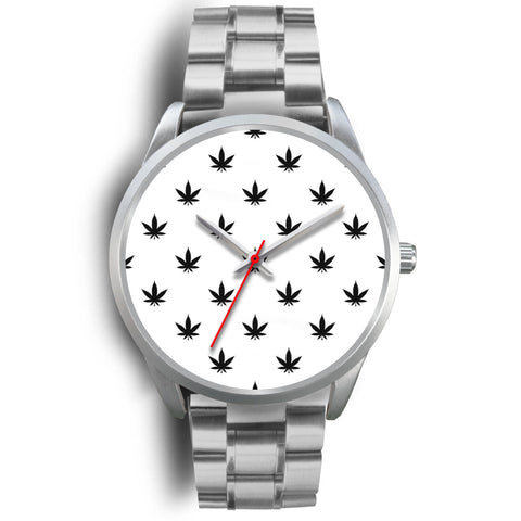 Black Leaves | Silver Stainless Steel Watch