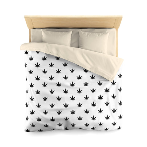 Microfiber Duvet Cover | Black Leaves