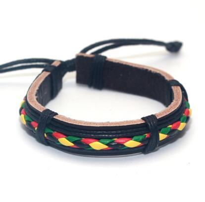 Jewelry | Genuine Leather Rasta Bracelet