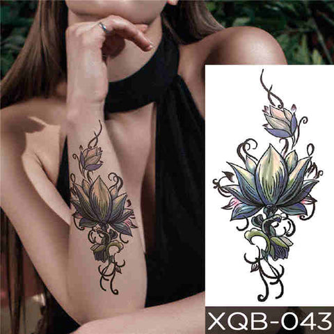 Curved Flower - Boston Temporary Tattoos