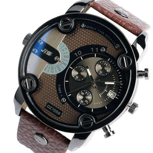 Brown Leather Band Stainless Steel Shell Watch