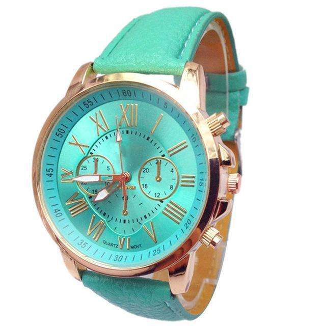 Casual Roman Numeral Watch For Women Aqua PU Leather