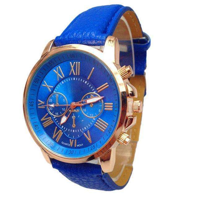 Casual Roman Numeral Watch For Women Blue PU Leather