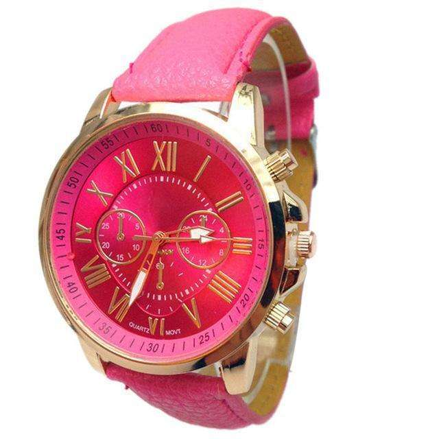 Casual Roman Numeral Watch For Women Dark Pink PU Leather