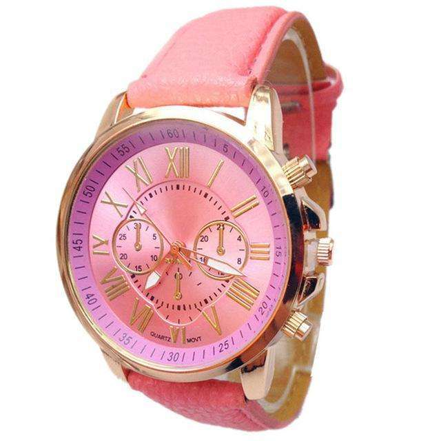 Casual Roman Numeral Watch For Women Light Pink PU Leather