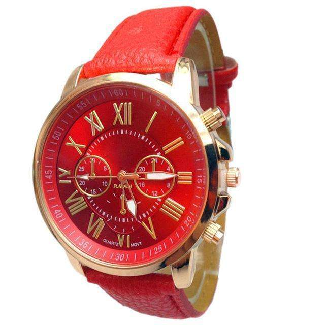 Casual Roman Numeral Watch For Women Red PU Leather