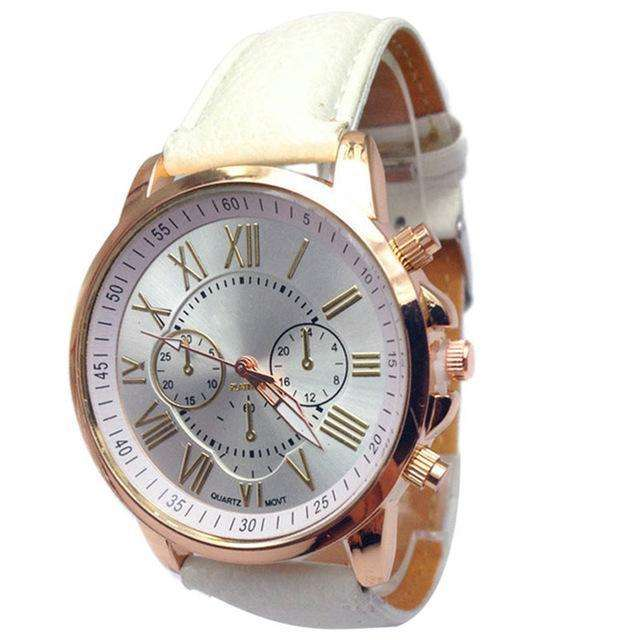 Casual Roman Numeral Watch For Women White PU Leather