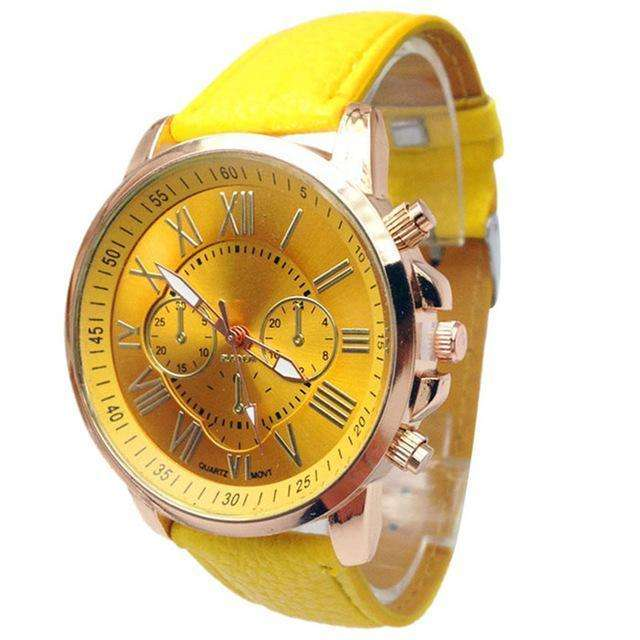 Casual Roman Numeral Watch For Women Yellow PU Leather